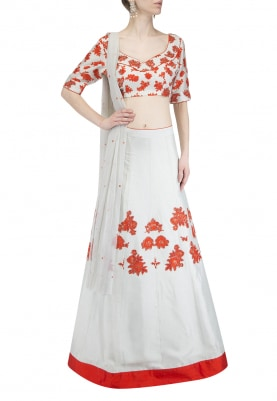 Ice Mint with Orange Flowers Embroidered Lehenga Set