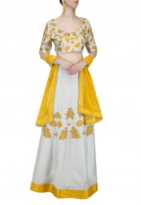 Ice Mint with Mustard Flowers Embroidered Lehenga Set