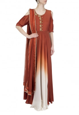 Burnt Orange Ombre Shaded Anarkali Set