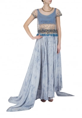 Maritime Blue Sequinned Top with Pleated Skirt