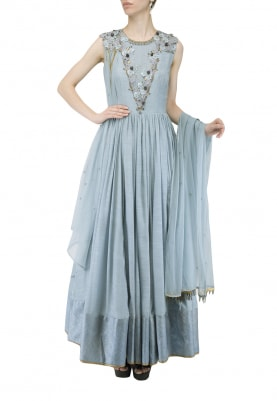 Airy Blue Embroidered Anarkali Set