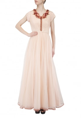 Rose Coral Flower Embroidered Gown