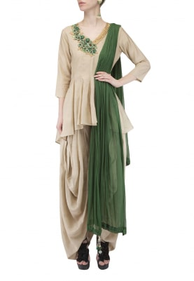 Oyster Grey Kalidaar Top with Draped Dhoti Pants