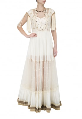 Cream Floor Length Gathered Dress