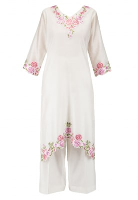 Pearl White Kurta Set with Contrast Dupatta