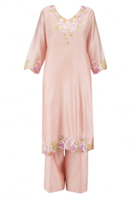 Peach Kurta Set with contrast dupatta