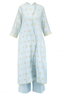Breezy Blue all-over dori work Kurta with pants