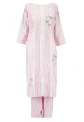 Blush Pink Kurta Set with Chiffon Dupatta