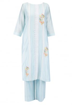Breezy blue Kurta Set with Chiffon Dupatta