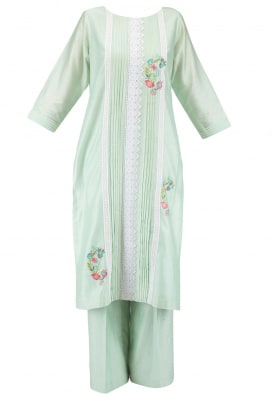 Sea Green Kurta Set with Chiffon Dupatta