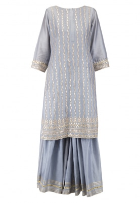 Grey Kurta with Gharara pants