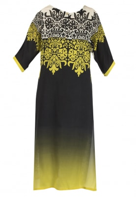 Black and Yellow Ombred Abstract Print Kurta