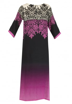 Black and Pink Ombred Abstract Print Kurta