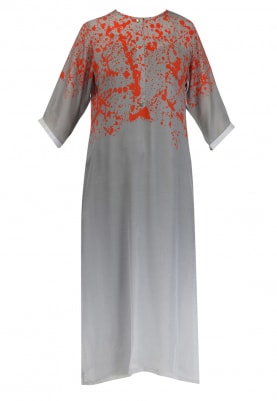 Burnt Orange and Grey Splash Print Kurta