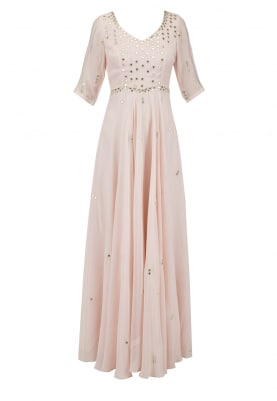 Ice Pink Mirror Work Anarkali Set