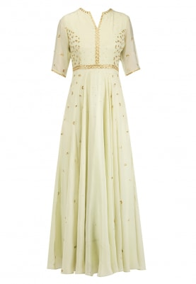 Pista Green Gota Embroidered Anarkali Set