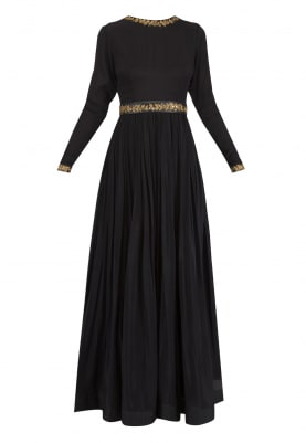 Black Embroidered Anakali Set