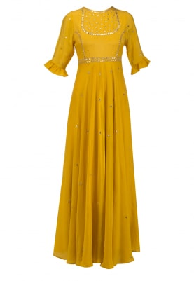 Mustard Gota Embroidered Anarkali Set