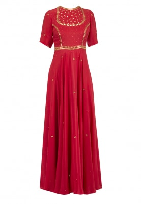 Red Gota Embroidered Anarkali Set