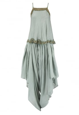 Beryl Green Camisole Top with Dhoti Pants