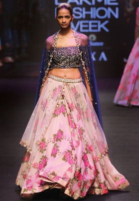 Ivory and Navy Embroidered Lehenga Set