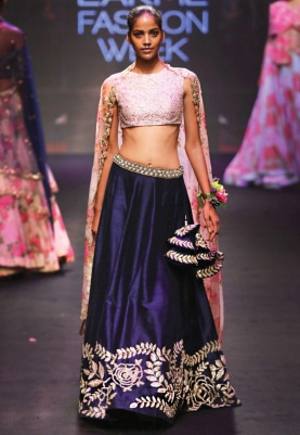 Navy Blue and Pink Pitta Embroidered Lehenga Set