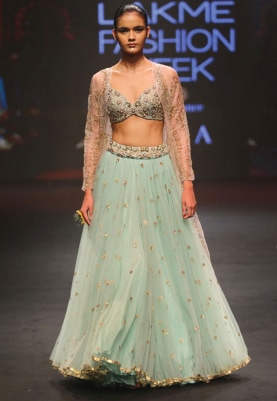 Duck Egg Embroidered Lehenga with Jacket Set