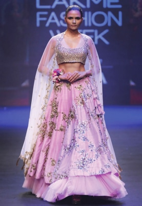 Lilac Zardozi Embroidery Layered Lehenga Set