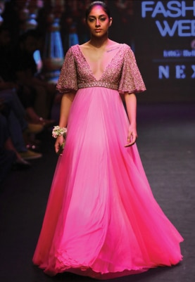 Pink Cutdana Embroidered Ombred Gown