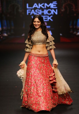 Red and Gold Embroidered Lehenga Set