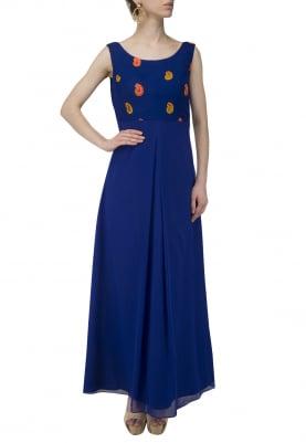 Multi-Color Booti Box Pleat Gown