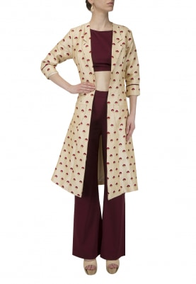 All Over Ambroidery Small Booti Side Slit Jacket