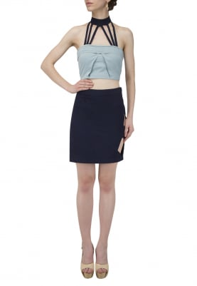 Pleated Spider Collar Crop Top and Shirt Side Cut-Out Skirt