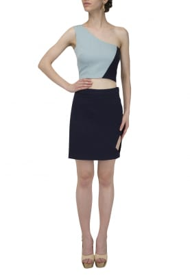 One Shoulder Dual Color Crop Top and Short Side Cut-Out Skirt