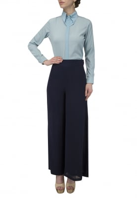 Zipper Shirt with Asymmetric Pants