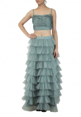 Rouching Noodle Strap Crop Top and Green Tiered Skirt