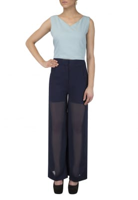 V Neck Basic Crop Top and Flared Pants