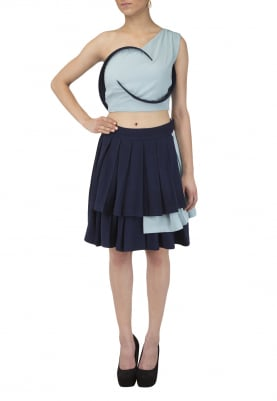 One Shoulder Bone Crop Top and Triple Layered Dual Color Short Skirt