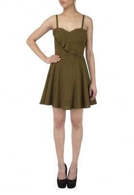 Olive Green Short Frill Beach Dress
