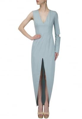 One Sleeve Pleated Front Hi-Slit Dress