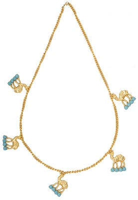 22K Gold Plated Turquoise Chatons Neckpiece