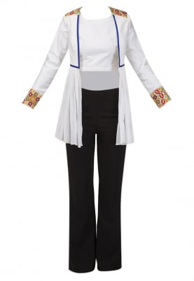 White Multi-Color Embroidery Patch Umbrella Jacket