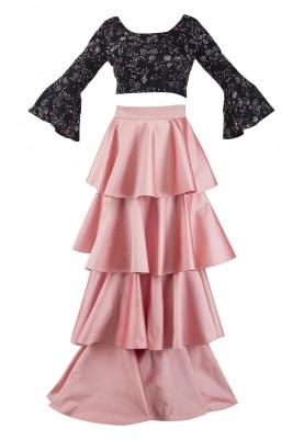 Printed Silverstar Crop Top and Bubblegum Tiered Skirt