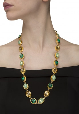 22K Gold Plated Green and Topaz Oval Stone Neckpiece