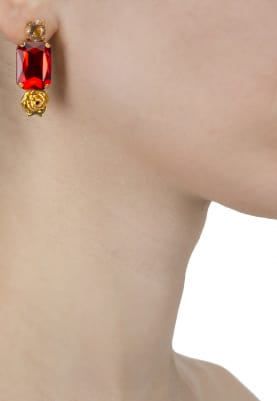 22K Gold Plated Red and Peach Stone Earrings