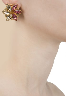 22K Gold Plated Pink and Topaz Earrings