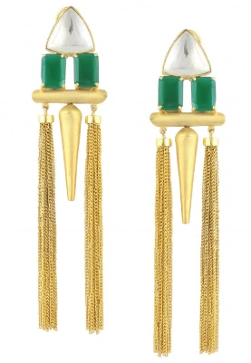 22k Gold Plated Emerald and Kundan Earrings
