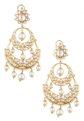 22k Gold Plated Kundan and Pearls Tiered Earrings