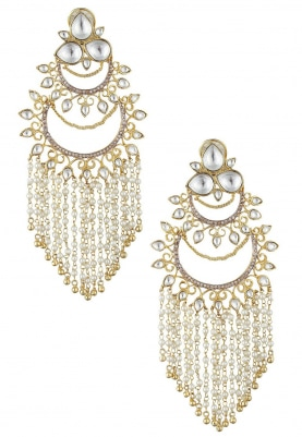 22k Gold Plated Kundan and Zirconia Chandbali Earrings