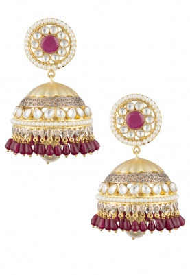 22k Gold Plated Kundan and Ruby Stone Jhumki Earrings